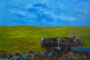 L'abreuvoir, Kyna de Schouel artiste peintre