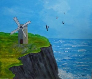 Mer bleue, Kyna de Schouel artiste peintre