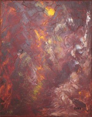 Le génie de la lampe, peinture abstraite, Kyna de Schouël artiste peintre